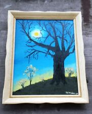 Great Primitive Oil Painting of Nocturnal Landscape – Signed