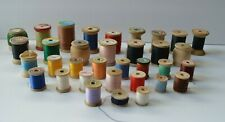 Lot 34 Vintage Sewing Wooden Spools of Thread - Corticelli, Coats, Heminway's