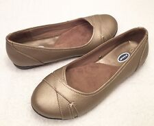 Women's Size 8 M DR. SCHOLL'S Bronze Leather Loafer Comfort Ballet Style Shoes