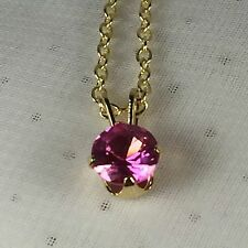 Genuine Pink Sapphire 2.00 CTTW Sterling Silver 18K Gold Plating Necklace