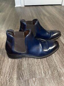 Salvatore Ferragamo Chelsea Boots Blue Leather Designer Made Italy Mens Size 8.5