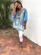 Embellished Over Sized Silk Crepe V Neck Tunic+Top+Kaftans+Aqua/Blue 12-18