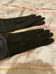Long Black Elbow Leather Soft Ladies Winter Evening Party Women Gloves in Black
