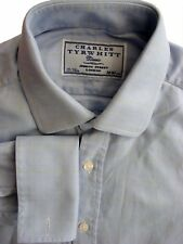 Charles Tyrwhitt Clásico Camisa Mens 15 S Azul-amarillo Compruebe
