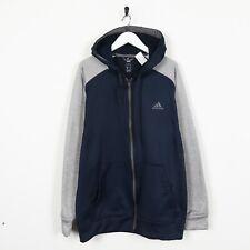 Vintage ADIDAS Small Logo Zip Up Polyester Hoodie Sweatshirt Blue Large L