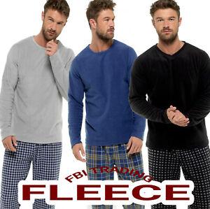 Mens Pyjamas Set  Fleece long sleeve Top and pants  Lounge Wear Winter Warm