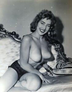 Vintage Silver Gelatin Photo Bettie Page Era Model Nancy Robert Breast Nipples