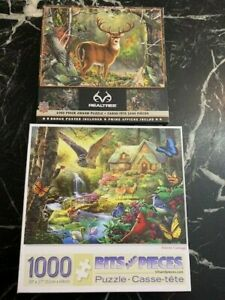 Lot of 2 1000 pc Bits and Pieces puzzles & Master Pieces Realtree Deer Nature