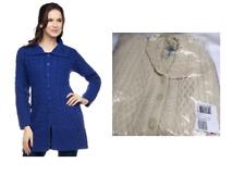 Aran CRAFT Women's Merino Wool Button Front Long Cardigan Natural L
