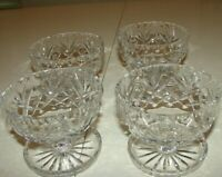 Vintage CRYSTAL Footed Dessert Bowl/Cup Ice Cream Goblets (WATERFORD?) Set of 4