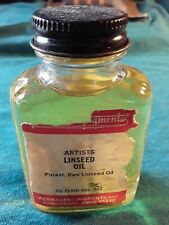 Permanent Pigments artist linseed oil 2.5 oz Rare full bottle Vintage