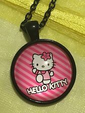 Hello Kitty Glass Dome Cabochon Pendant Necklace. Cartoon. Hand Made. NEW