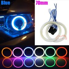 2pcs 70mm Blue Car Motorcycle Headlight Angel Eyes Cob Halo Ring LED Lights DRL