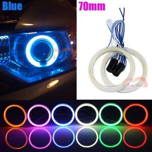 2pcs 70mm Blue Car Motorcycle Headlight Angel Eyes Cob Halo Ring LED Lights DRL