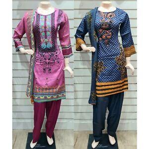 Pakistani Indian Printed Embroidered Lawn Suit, Stitched Shalwar Kameez Salwar