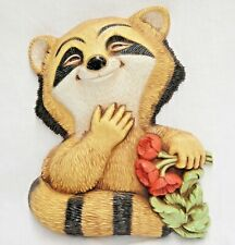 Vintage Homco Plastic Raccoon Plaque Wall Decor Holding Red Flowers 1977 Usa