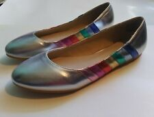 Silver With Pastel Stripes Round Toes Flats Shoes Size 8