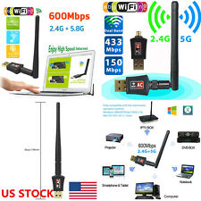 PC Dongle Wifi Dual Band 802.11AC USB 2.0 Wireless LAN Adapter 600Mbps US SHIP