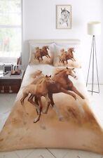 SINGLE BED DUVET COVER SET GALLOPING HORSES DESIGN PRINT 100% POLYESTER