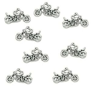 Motorbike Motorcycle Charm Tibetan Silver Pendant Pack of 10