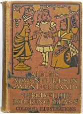 1899 ALICE IN WONDERLAND Alice's Adventures RARE Fairy Tale Art Book vtg ANTIQUE