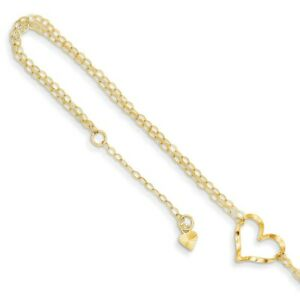14k Yellow or White Gold Open Heart Double Strand Anklet, 9-10 Inch