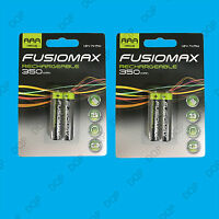 4x AAA Rechargeable Fusionmax NiMH Batteries, HR03, 1.2V, Ni-Mh, 350mAh