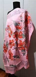 **Vintage 91cm Square Printed Pink & Grey Thai Silk Scarf: Flowers & Butterflies