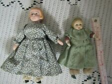 Pretty Bisque & Cloth Doll House Dolls-4 1/2 & 5 1/2 Inches