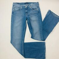Levis 518 Womens Jeans 7 Long Blue Superlow Boot Flare Med Wash Faded Whiskers