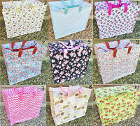 Large Vintage Floral Laundry Shopping Tote Bag Storage Bags Reusable Zipped