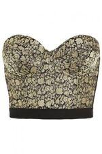 TOPSHOP Ex TOPSHOP Gold Jacquared Bralette/Top Sizes 6 10 12 16 BNWOT RRP £30