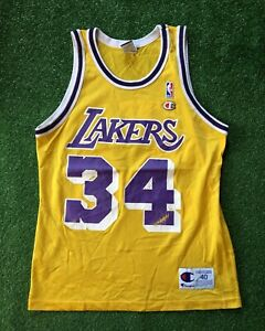 Vintage 90s Champion Jersey Los Angeles Lakers Shaq O'Neal Men's 40 NBA