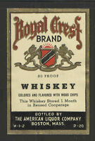 ROYAL CREST WHISKEY ANTIQUE BOTTLE LABEL - UNUSED