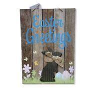 Easter Greetings Bunny Hanging Wall Door Decor Blue Glitter Indoor Outdoor Eggs