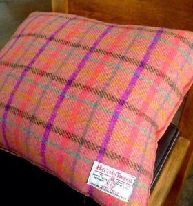 """2 Harris Tweed Cushion Covers Orange Pink Coral Purple 18"""" Wool Cotton Velvet"""