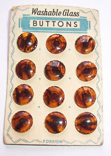 12 Old Glass Buttons On Cardboard/Platter Um 1950 Vintage