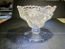 Antique Ohio Flint Glass / Millersburg  Krys-tol Marked KENNETH Crystal Compote