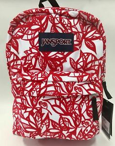 NEW Jansport Superbreak Coral Dusk Jungle Adventure Red Velvet Vines Backpack