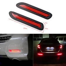 Universal Pair Red Lens Led Car Rear Bumper Reflectors Brake Tail Warning Light