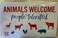 NEW PURINA CHICKEN FEED METAL COOP SIGN ANIMALS WELCOME