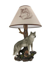 Zeckos `Denizen of Twilight` Gray Wolf Table Lamp