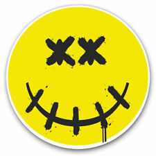 2 x Vinyl Stickers 7.5cm - Yellow Dead Smiley Face Logo Cool Gift #4633