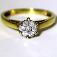 Quality 0.25ct Diamond Cluster 18ct Yellow Gold ring size P ~ US 7 3/4