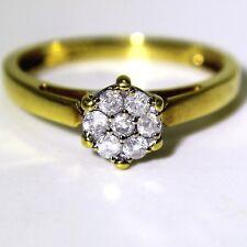 Qualità 0.25 KT DIAMOND CLUSTER 18 KT Anello Oro Giallo Taglia P ~ US 7 3/4
