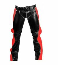 SEXY REAL BLACK RED/BLUE LEATHER HEAVY DUTY BONDAGE PANTS JEANS BLUF GAY