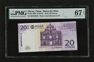 2013 Macau China-Banco da China 20 Patacas Pick#109b PMG 67 EPQ Superb Gem UNC
