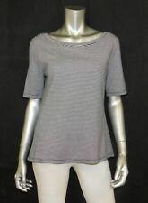 GAP Black/White Striped Short Sleeve Scoop Neck/V-Back Stretch Blouse sz M