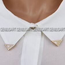 2 Pairs Golden Gold Blouse Shirt Metallic Metal Pointed Collar Clips Wing Tips