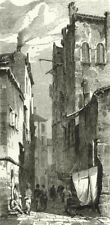 VENICE. Street in Venice 1877 old antique vintage print picture